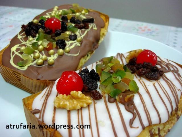 Bolo Inglês com Frutas Cristalizadas e Uvas Passas Escuras- coberturas de Chocolate ao Leite  ou Fondant