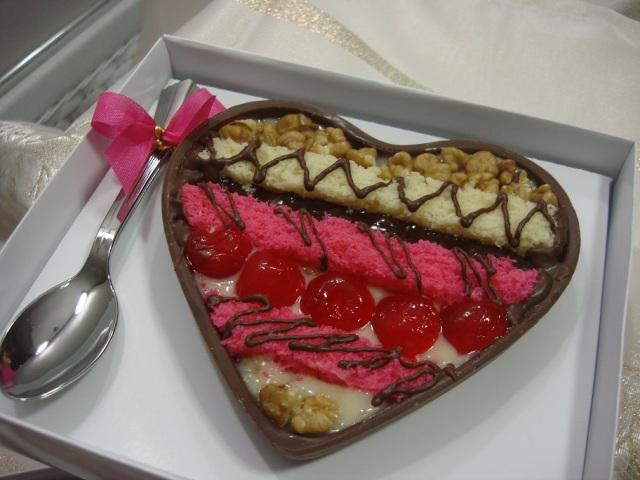 Coração de Colher Mosaico Rosa